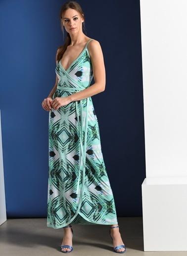 Zeynep Ökmen Desenli Jarse Anvelop Elbise Yeşil